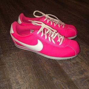 Kids Cortez Nylon Hyper Pink/White Casual Shoe